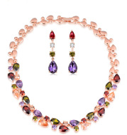 India bride necklace earrings set jewelry set two sets of Monalisa series of zircon jewelry wholesale