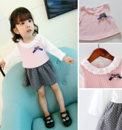 2021 girls autumn suits, women's baby straps skirt, two pieces of infant princess dress one day