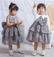 2020 baby Lace Princess dress, baby full moon dress, silver gray dress, vest skirt, children's skirt