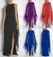 Chiffon Stitching Maxi Evening Dress