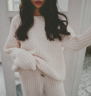 Japanese knit suit pajamas female winter small square soft outer wear home clothes female long sleeves