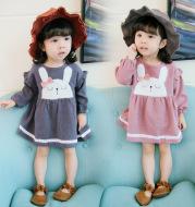 Qz6121 small Xuan baby girl autumn dress Baby Plush Bunny baby bust long sleeved dress
