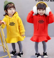 Children's wear girls Princess Dress 2020 children's autumn and winter new style children's hooded alphabet embroidered dress