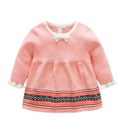 17 years of spring and autumn new female baby baby cotton knitted sweater dress with a pink dress seven