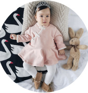 MINI baby infant clothing wholesale city brand female baby cashmere dress Pankou with folk style in winter