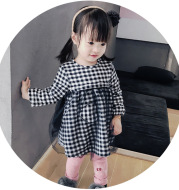 Baby zhenguai Korean love gauze dress winter new infant plaid skirts with warm velvet skirt