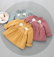 2021 autumn and winter plus cashmere skirt, girls thickening dress, female baby long sleeve princess skirt, baby winter skirt
