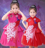 Baby Baby Costume Dress 2020 new winter girl China wind skirt dress Princess Dress decals
