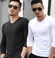 V Collar Mens Long Sleeve shirt