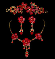 Foreign trade in Europe and the United States explosion bride wedding accessories wholesale jewelry set three piece red collar wholesale