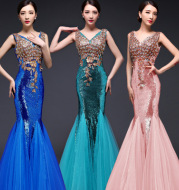 2016 new Korean sexy V collar high grade red lace fishtail bride bride long toast dress