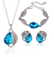 The bride headdress three set of European and American cross-border electricity explosion bracelet and Earring Pendant Drop students