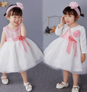 2020 new old baby princess dress, flower girl dress baby girls pink dress skirt full hundred days