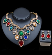 Fast selling explosion, Middle East, Europe and America, colorful exaggerated bride necklace, earring set, cross border high quality goods supply