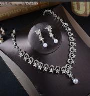 TL211 bridal jewelry earrings, necklace two pieces, Korean Rhinestone Pearl set, wedding dress, Tiara accessories