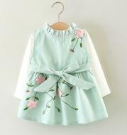 Children's wear 2021 autumn girls, cotton long sleeved T-shirt dress, two sets of infant princess skirt set