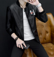 Ding Bing's new spring and autumn season men's leather jacket, PU leather jacket, men's locomotive, thin coat