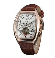 FORSINING tonneau dial Tourbillon double eye with calendar Mens Automatic mechanical watch belt