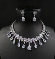 Bridal Wedding Deluxe luxury zircon necklace, earring, earring set, chain wedding dress, accessories