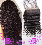 Live-action wigs Hand-woven human hair block deep wave closure Full lace wig 4*4