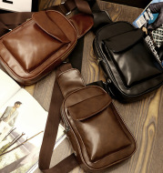 2020 new single shoulder bag man chest bag retro oil wax diagonal bags PU waterproof bag one generation