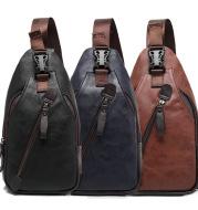 2021 new Korean men's fashion leather chest bag shoulder bag messenger bag bag riding Backpack