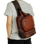A Mo Tis Leather Backpack Bag Korean male outdoor leisure sports men chest Bag Satchel