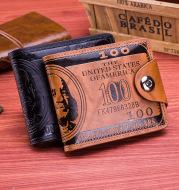 Fast selling, detonating, wish double line pressure change magnetic buckle US dollar 100 dollars pattern men Wallet Money Clip