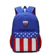 Spring new children's schoolbag custom Dacron cartoon cute blue kindergarten double shoulder bag