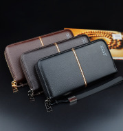 New European and American men's long purse zipper fashion hand take business leisure men's wallet foreign trade manufacturers wholesale