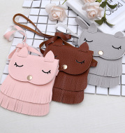 Girls change small bag children bags Pu all-match creative Xiekua package small fox tassel bag
