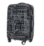 Black mechanical man's rod box 24 inch universal wheel travel box super compression abs+pc luggage bag