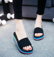 Hot word with Liangtuo platform slope with thick bottom slip Home Furnishing lady shoes slippers wholesale summer beach