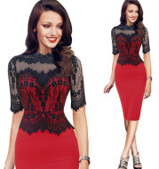 Sales in Europe and America fashion dress lace stitching collar sexy pencil skirt dress wholesale