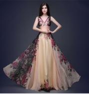 2016 European and American elegance double shoulder flower dress women style evening dress long dress