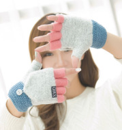 Women's half finger gloves wholesale female autumn winter Korean version of warm lovable double use of double finger wool gloves students