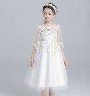 New girls princess dress flower girl dress birthday party dinner host long skirt wedding children's pettiskirt