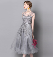 2020 summer new dress mesh embroidery solid color dress