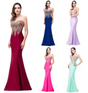 Amazon Europe dress sexy back hollow applique package hip dress fishtail skirt female perspective