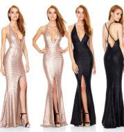 2020 evening dress slitted halter strap sexy nightclub sequin dress deep V sequin dress