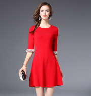 2021 autumn European and American women's new knit knitted round collar dress dresses and dresses