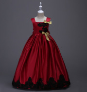 American girls dress flower girl dress suspenders sleeveless princess dress children wedding dress costumes long chair