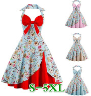 Vintage Hepburn style printed halter dress mini dress