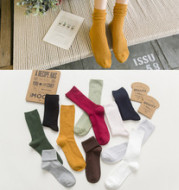 2017 autumn and winter new cotton double needle double needles heap heap heap heap stockings of ladies socks, leisure socks, pure cotton wholesale