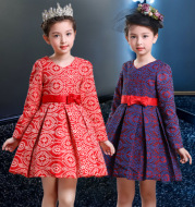 Girls long-sleeved dress children's clothing winter new children plus velvet thick princess dress dress skirt