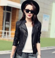 Leather female short PU leather jacket Ladies Motorcycle leather jacket collar oblique zipper PU washing small leather wholesale