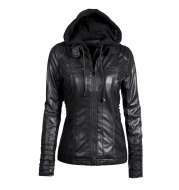 Detachable hooded lapel zipper long-sleeved solid color women's leather