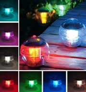 Solar Powered Multi-colored LED Lamp RGB Water Resistant Outdoor Floating Pond Night Light for Garden Pool