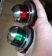 2pcs Green and Red Marine Boat Yacht LED Warning Light Set 12V Stainless Steel Bow Navigation Indicator Spot Lights