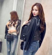 2021 motorcycle leather female short pu leather lapel jacket spring and autumn slim slim women's European and American leather jacket women's clothing